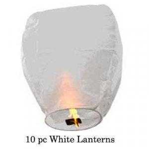 10pc White Sky Lantern Party Pack